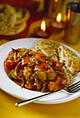 Vegetable ragout with rice and flatbread