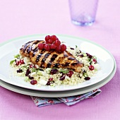 Grilled chicken breast with berry couscous