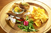 Club sandwich with chicken breast and fried egg