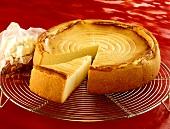 Cheesecake on cake rack