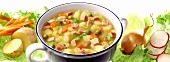 Potato and vegetable stew with diced ham