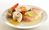 Fish platter with salmon, plaice, halibut, shrimp & sauces