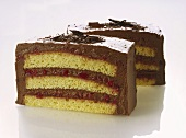 Sponge slices with chocolate cream and cranberries