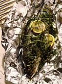 Trout with herbs in aluminium foil