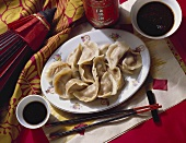 Chinese ravioli with soy sauce