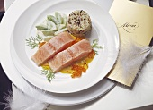 Poached salmon with caviare and saffron sauce