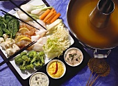 Vegetable Fondue with Fish & Sauces