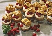 Cream puff with raspberry cream