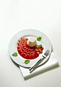 Rhubarb Jelly with Strawberry Sauce