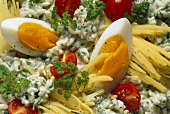 Rice salad with cheese, herbs and egg
