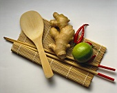 Lime; Ginger; Chilies; Chop Sticks