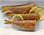 Roasted red mullets with lemon slices