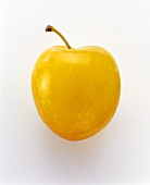 Yellow plum with stalk on white background