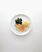 Salmon in mushroom cream sauce with ribbon pasta and spinach