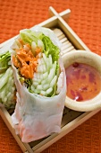 Rice paper rolls with vegetable filling and dip