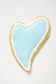 Heart-shaped biscuit with pale blue icing
