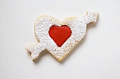 Heart-shaped biscuit with arrow