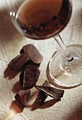Still life: red wine & pieces of chocolate (red wine bouquet)