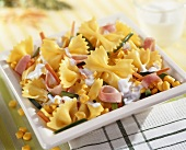 Farfalle with sweetcorn and strips of ham
