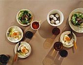 Corn salad with duck liver & salmon mousse with quails' eggs