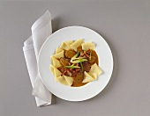Beef goulash with pasta sheets