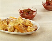 Scrambled curd cheese pancake with strawberry & rhubarb compote