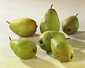 Six green pears (variety: Gute Luise)