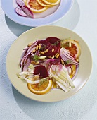 Beetroot salad with pomelo, fennel and pine nuts