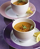 Red lentil soup with fresh coriander