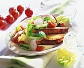Toasted garlic bread and radish salad