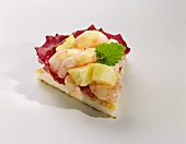Canapé: shrimps and pineapple on toast