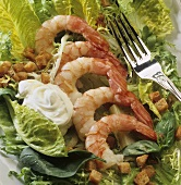 Salad leaves with prawns, croutons and garlic mayonnaise