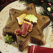 Star-shaped chocolate cake for Christmas