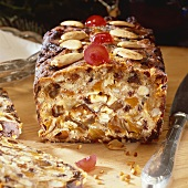 Fruit loaf, partly sliced