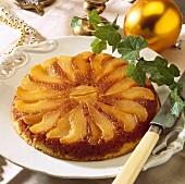 Caramelised pear upside-down cake