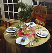 Festive Christmas table in olive green and red