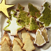 Biscuits in shape of Christmas trees with icing & pistachios