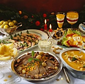 Christmas buffet: roast beef, salmon, soup etc.