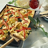 Savoy cabbage and chard tart with red pepper lattice