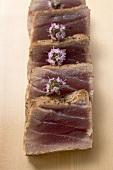 Seared tuna, sliced