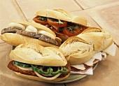 Bocadillos (baguette rolls) with various fillings