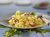Ribbon pasta with crabmeat and celery