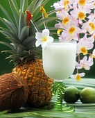 A Piña Colada, pineapple, coconut and limes
