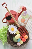 Easter decoration with Easter nest and sweets