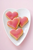 Heart-shaped biscuits (coloured background)