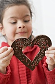 Girl with a chocolate heart
