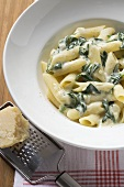 Penne rigate with spinach and cream sauce, Parmesan and grater