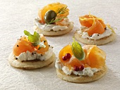 Blinis with sour cream and smoked salmon