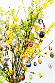 Easter eggs hanging on Easter branches