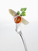 White asparagus on fork